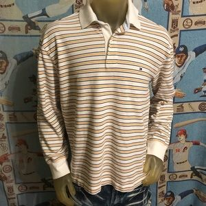 Clean Tommy Hilfiger Stripe Long Sleeve Polo